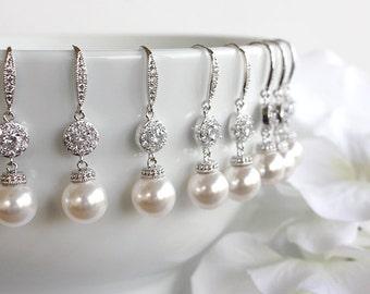 Agnes - Personalized Swarovski Pearl Wedding Earrings, Bridal Earrings, Crystal Earrings, Bridesmaid Gift, Bridesmaid Earrings, Bridal Party
