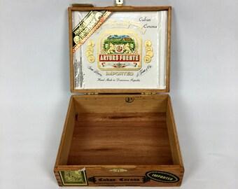 Vintage Arturo Fuente WOODEN CIGAR BOX // Stash Box // Dominican // Smoking // 420 Blaze It // Weed Stash Box // Storage // #11