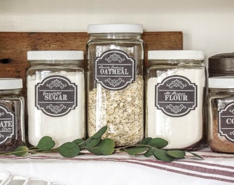 Golden Harvest Canister Set w/ Labels~Pantry Jars~Custom~Organization~Vintage Farmhouse~Country Kitchen