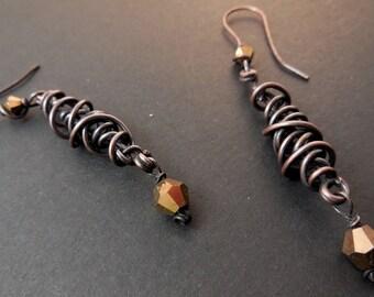 Copper wirework dangle earrings-*Pierced or Clip on*