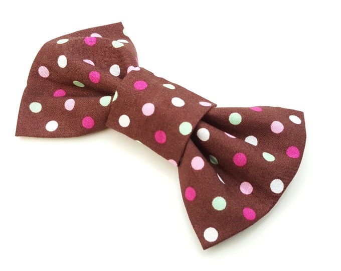 Dog Bow Tie - brown and pink spot