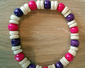 Wooden Bead Bracelet. Hand Made Wooden and Coconut Bead Bracelet.