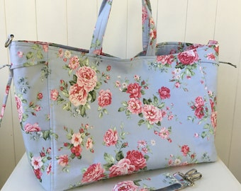 RESERVED FOR L.   Handbag, Large Tote, Overnight Bag, Sports Bag, Blue Floral Design, Diaper Bag, Made in Australia, Bags and Purses