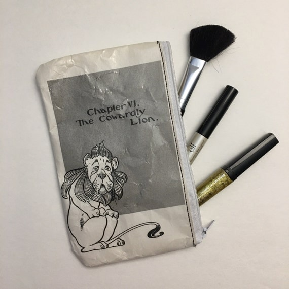 Wizard of Oz Book Themed Vinyl Pencil or Make-Up Pouch - The Cowardly Lion