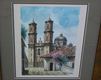 Figueroa Watercolor Church of Santa Prisca Taxco de Alarcón Signed Framed