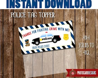 POLICE Treat Bag Topper, Police Printable, Birthday Printable, Police Party Favor, Police, Police Thank You Tag, Treat Bag INSTANT DOWNLOAD