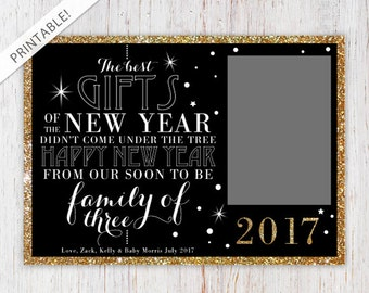 New Year's Eve Pregnancy Announcement with Photo - Printable Announcement Card - Glitter and Gold - New Baby