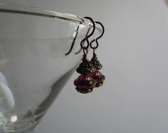 Fancy Amethyst BOHO Czech Glass Earrings Special Bohemian Little Earrings Hypoallergenic Niobium French Hooks and Gold Luster Saturn Beads