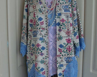 Beautiful And Really Unusual Vintage Ivory Tapestry Coat Jacket Blues Pinks Greens With Deep Crochet Hem