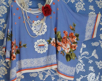 Stunning Recycled Boxy Oversized Tomatoe Red Blue and White Floral Boho  Crochet Layering Top