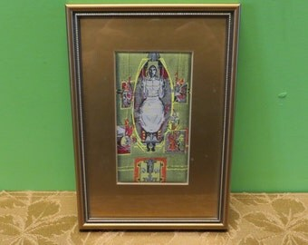 Vintage J & J Cash Fine Woven Silk - Jesus Christ The Crucified Throne Silk Framed Tapestry - Free Shipping
