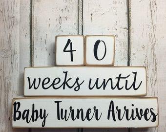 Wooden Weeks Until Baby Arrives Gender Neutral Countdown Blocks
