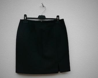 Vintage black fabric skirt with side split front