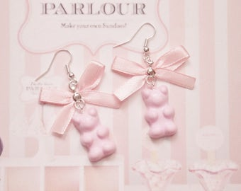 earrings bear marshmallow polymer clay