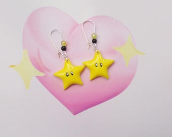 earrings geek mario star  polymer clay