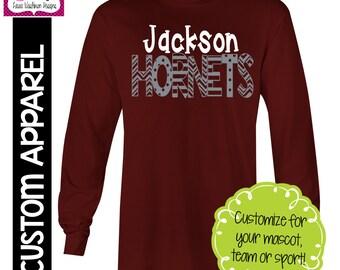 CUSTOM APPAREL: Custom School Name and Mascot Spirit Long Sleeve T-Shirt