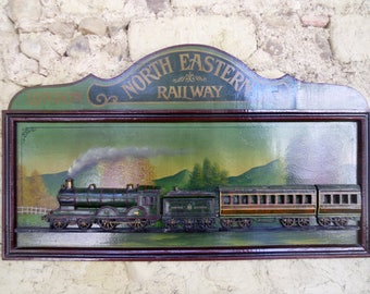 Wood relief picture Steam train plaque North Eastern Railway wood wall hanging 3D locomotive with hand painted background