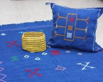 Sabra cover cushion in blue majorelle, cushions, pillows by hand. Size: 45.5 x 43.5 cm