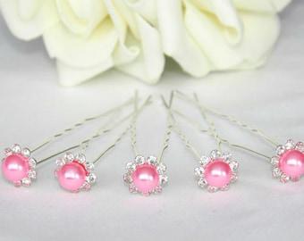 5 bridal bead rhinestone hair pins pink