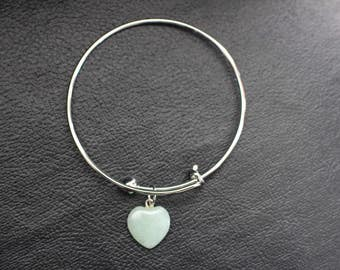 Silver Bracelet with Heart Charm (green stone)