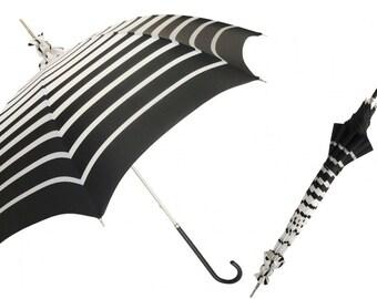 Monochrome slim umbrella/handmade in Italy umbrella/black and white stripe umbrella/Manual Opening Striped Parasol, Rainproof/