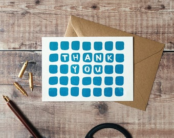 Thank You Letterpress Greetings Card