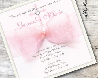 Baptism Invitation Girl Christening Invitation Girl Pink