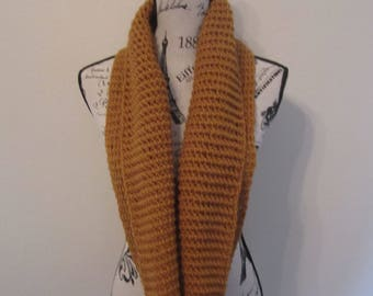 Hand-Crocheted Antique Gold Infinity Scarf
