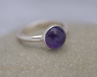 Round Amethyst Ring, Silver Ring with Amethyst, Amethyst Ring Size 8, Amethyst Jewelry, Amethyst jewellery, February Birthstone Ring