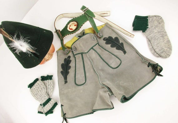 Vintage 'Lederhosen' With Felt Cap, Socks and Leggings
