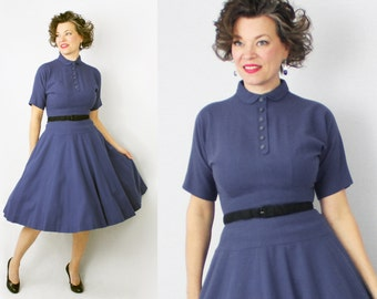 Anne Fogarty Dress / 50s Dress / 1950s Dress / Blue Dress / Day Dress / Designer Dress /  Fifties Dress / Winter Wool Dress / Waist 26""