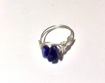 Stainless Steel Ring with Lapis-lazuli chips