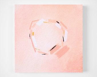 blush pink and gold abstract painting - tiny painting - modern minimal art - mini art