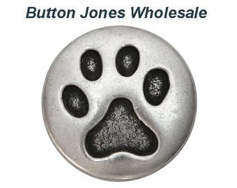50 pcs. Cat Paw 3/4 inch ( 20 mm ) Metal Buttons Antique Silver Color