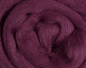 Dyed Merino - Berry - Solid color commercial dyed - combed top roving spinning felting fiber fibre arts  - purple mauve