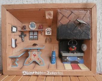 OOAK Wall Hanging Wooden DIORAMA Room Box w/ REUGE Music Device, Mayrhofen Zillertal Austrian Native Tirol Room