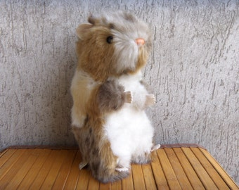 Vintage HERMANN TEDDY ORIGINAL Adorable Sitting Beaver, West German Stuffed Toy, Collectible Value, Mid 80's