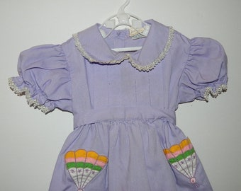 Retro 1970s Lilac Sears Toddler Girl Dress with Colour Fans Size 2