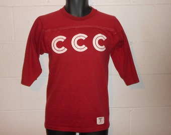 Vintage 70s CCC Collegiate Pacific 3/4 Sleeve T-Shirt Small