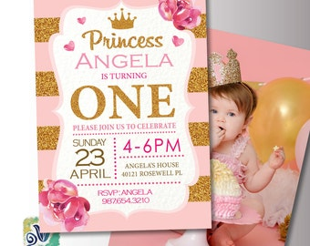 Princess Birthday Invite. Pink and Gold Baby Birthday. 1st Birthday Party invitation. Printable Digital DIY Card