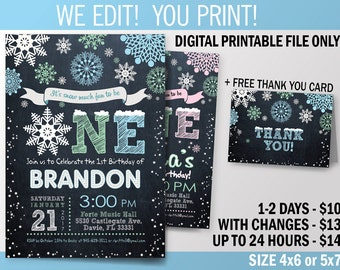 Winter ONEderland. Mint and Teal Baby Birthday Printable Invitation. First Birthday Party