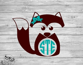 Fox Decal, Fox Monogram Decal, Fox Car Decal, Monogram Fox Decal, Fox Laptop Decal, Fox Window Decal, Fox -  Your choice of size and colors