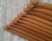 "Set of 10 Bamboo Crochet Hooks 4-10mm, Inline Style, Smooth, Strong, Tapered Point, Deep Throat/Bowl, 6""/15mm long"
