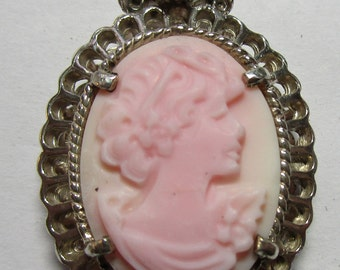 Ladies signed pink cameo and diamond fine lacey sterling pendant
