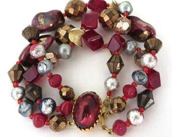 Hattie Carnegie Bracelet, Triple Strand Bracelet, Red Glass Bead Bracelet, Signed Hattie Carnegie Jewelry, FREE SHIPPING