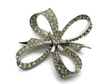 Rhinestone Bow Brooch Vintage Estate Silver Tone Costume Jewelry Gift Brooch