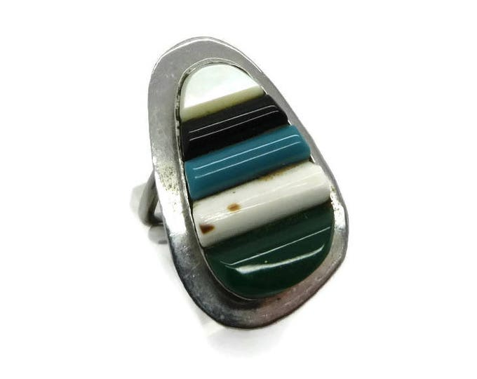 Navajo Turquoise MOP Onyx Ring Vintage Sterling Silver Multi-Gemstone Native American Ring Size 6