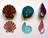 sea shell rubber stamp, conch shell stamp, fossil, ammonite, beach rubber stamp, ocean theme wedding, summer craft projects, gift wrapping