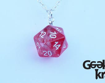 Nebula Red 20D necklace, d20, dice. dungeons and dragons
