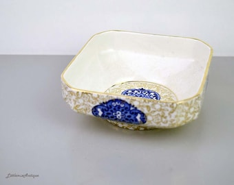 Vintage 1920s James Kent Golden Osaka 6363 Registered Made in England Small Square Dish Retro Oriental Gold and Blue Transferware Ornament